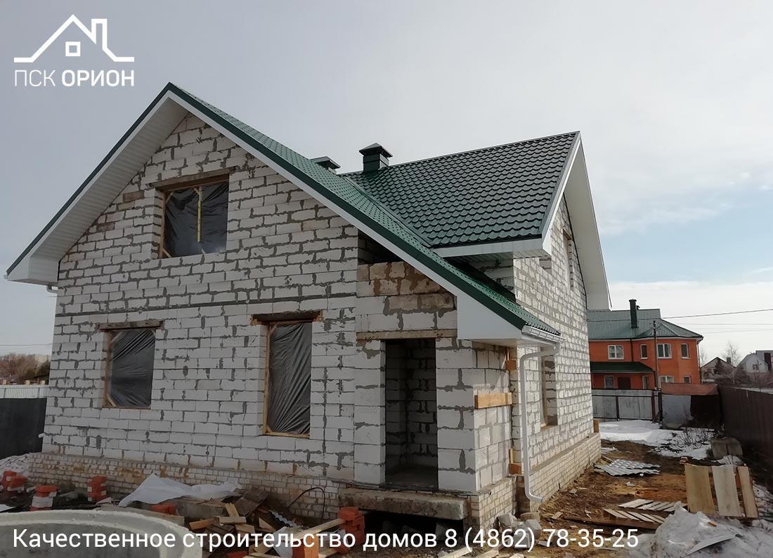 Мы завершили строительство жилого дома 160 м2 из блоков ПГС  «Под кровлю» в г. Орёл!